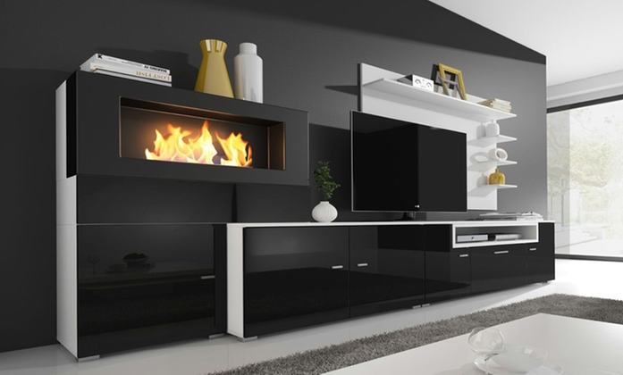 set muebles de sal n con chimenea regalo fantastico tv. Black Bedroom Furniture Sets. Home Design Ideas